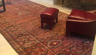 19th century Beshir long rug in London Drawing Room