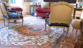 A striking Persian Serapi carpet in a Drawing Room in Kent