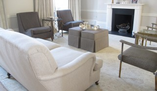 A contemporary Ferahan carpet in a classic Drawing Room