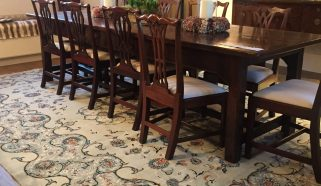 A circa 1940 Persian Kashan carpet in Gloucestershire Dining Room