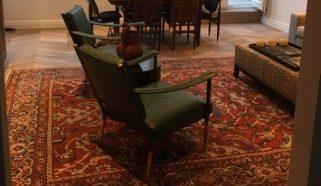Antique Ziegler Mahal carpet complementing a modern London Living Room